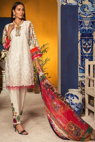 Warda Designer Collection - Verdant Prism 3PC Melange Embroidery 3819097
