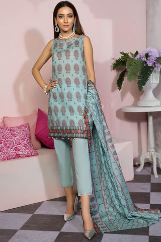 Warda Designer Collection - 3PC Lawn Print 7.5 Meters 389386A