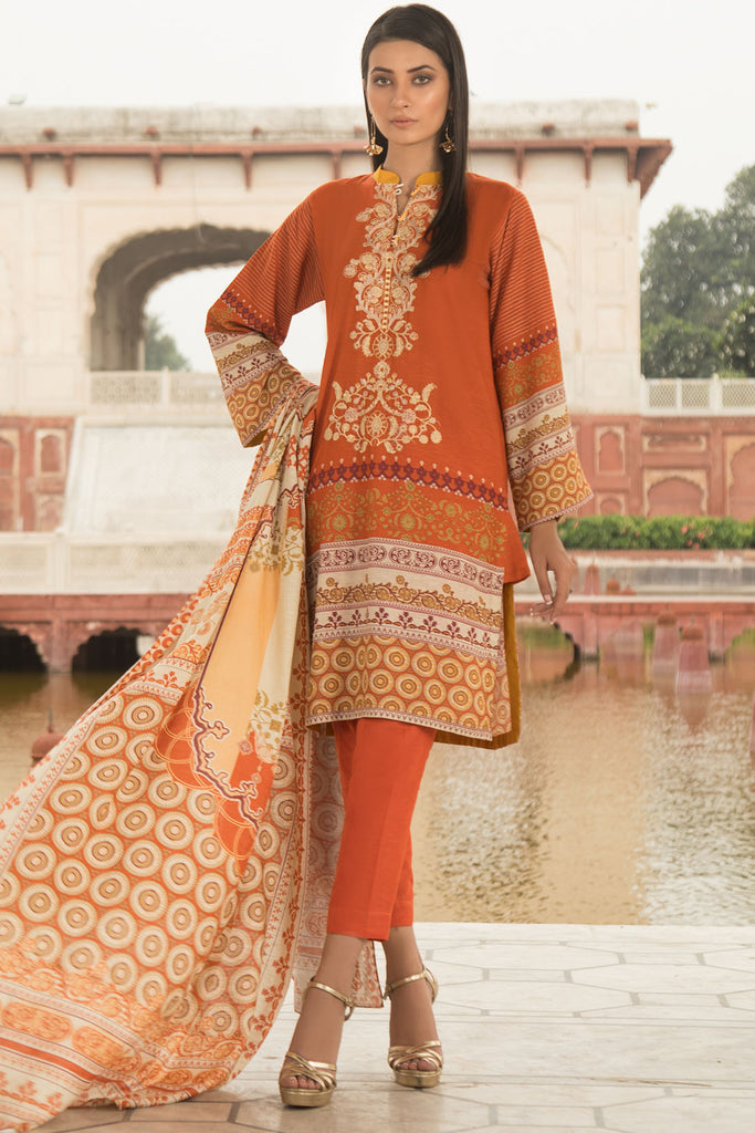 Warda Designer Collection - 2PC Silk Karandi Embroidery with Shawl 2559762