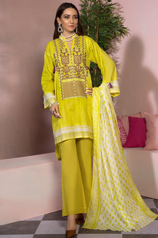 3PC Lawn Embroidery 389477A - Unstitched - Warda Designer Collection