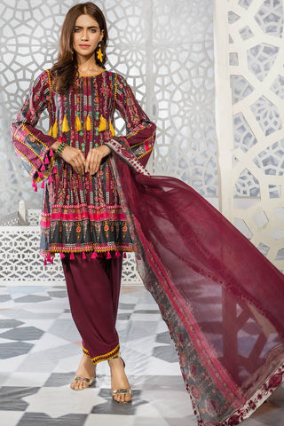 Warda Designer Collection - 3PC Lawn Print with Embroidered Chiffon Dupatta 3819344
