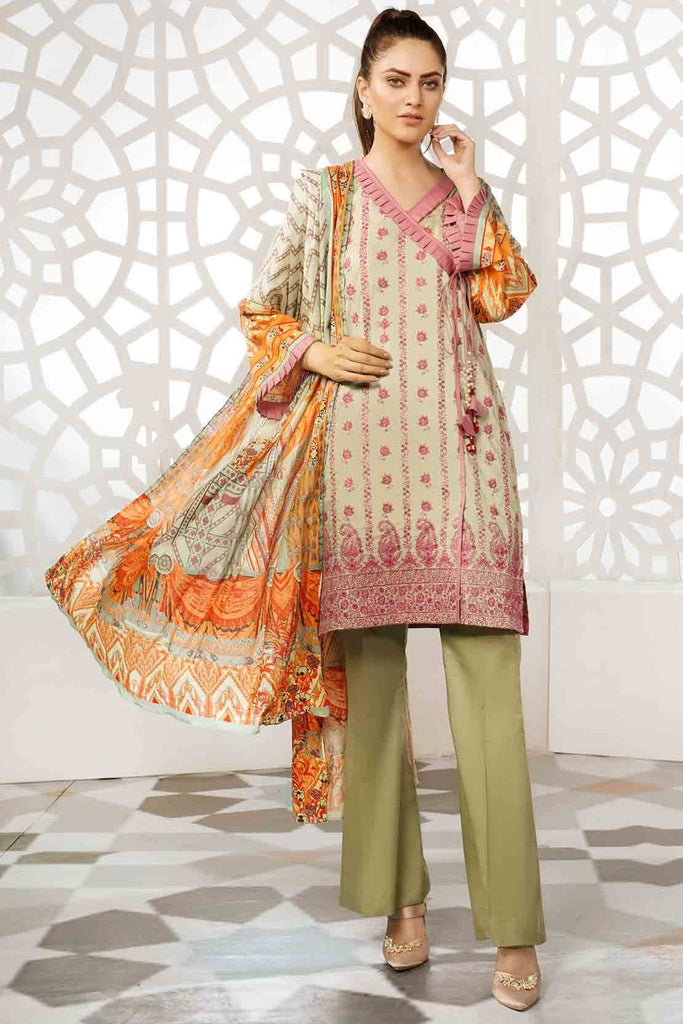3PC Lawn Chikan Kari 3819262 - Unstitched - Warda Designer Collection