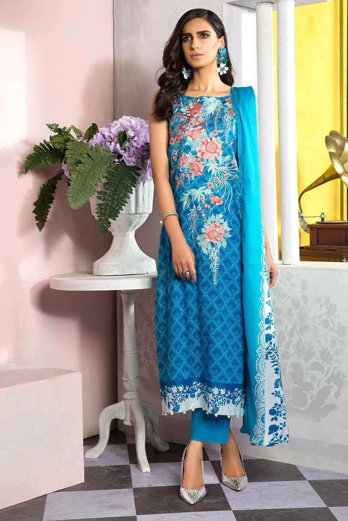 Warda Designer Collection - 3PC Lawn Embroidery 3819413