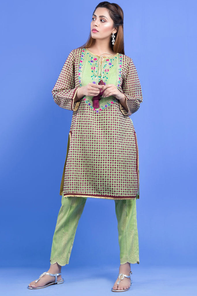 Warda Designer Collection - Formal Embroidered Shirt with Inner LS19091