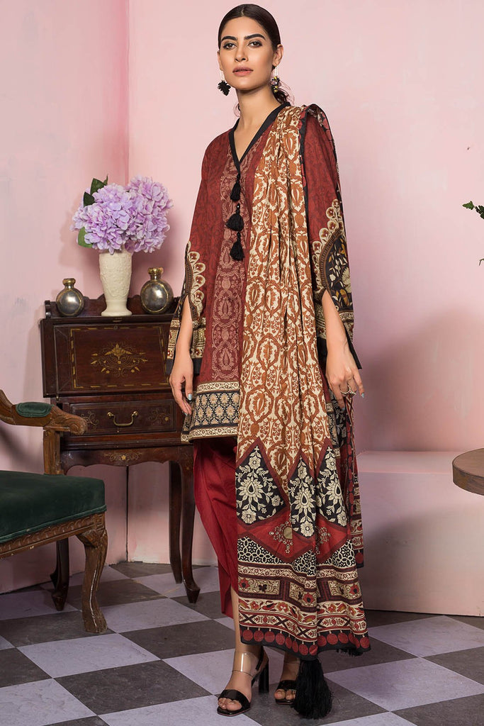 Warda Designer Collection - 3PC Lawn Print 3819376