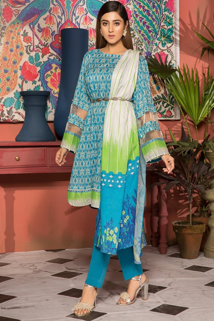 Warda Designer Collection - 3PC Lawn Print 7.5 Meters 389039A