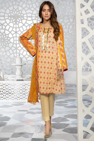 Warda Designer Collection - 3PC Lawn Print with Embroidered Chiffon Dupatta 3819343