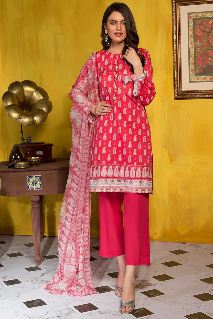 Warda Designer Collection - 3PC Chiffon Lawn Print 7.5 Meters 3819399