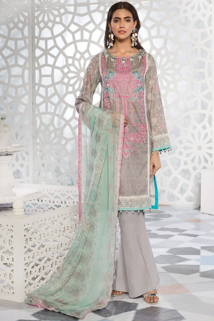 Warda Designer Collection - 3PC Lawn Embroidery with Bamber Dupatta 3819242
