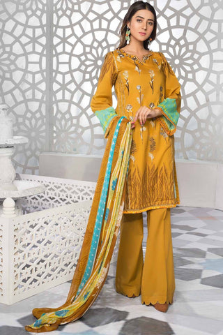 3PC Lawn Embroidery with Chiffon Dupatta 389056A - Unstitched - Warda Designer Collection