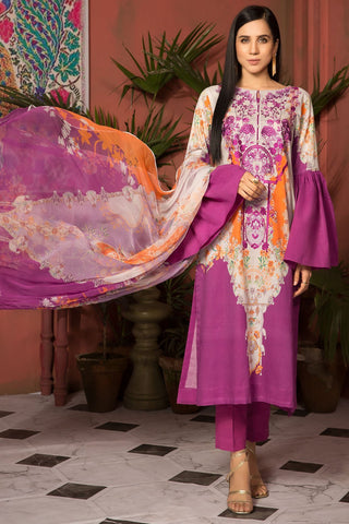 Unstitched - 3PC Lawn Embroidery with Bamber Dupatta 389064A - Warda Designer Collection
