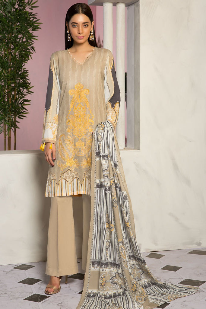3PC Lawn Embroidery 389412A - Unstitched - Warda Designer Collection