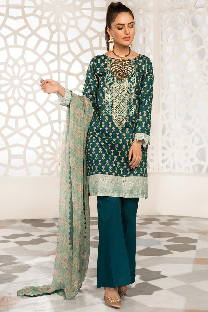 Warda Designer Collection - 2PC Embroidered Dobby Shirt with Printed Bamber Dupatta 2559354