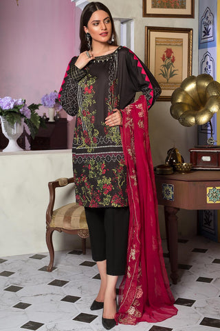 3PC Lawn Printed Shirt with Embroiered Chiffon Dupatta 3819340 - Unstitched - Warda Designer Collection