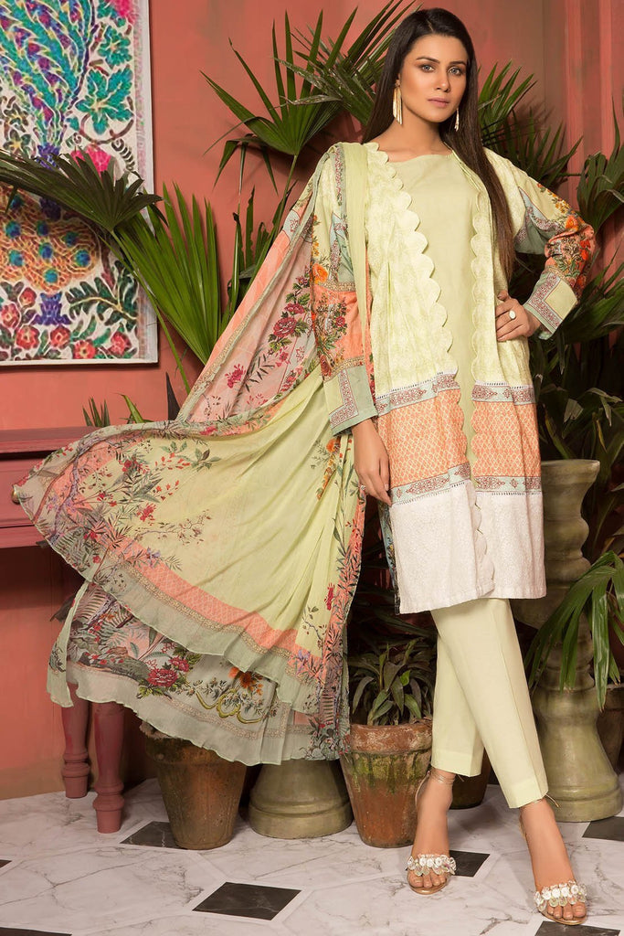 Warda Designer Collection - 3PC Digital Chikan Kari 3819075
