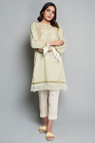 Single Shirt Jacquard Solid Embroidery LS18185 - Pret - Warda Designer Collection