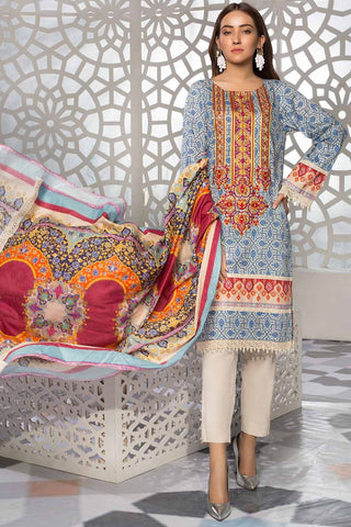 Warda Designer Collection - 3PC Lawn Embroidery 3819238