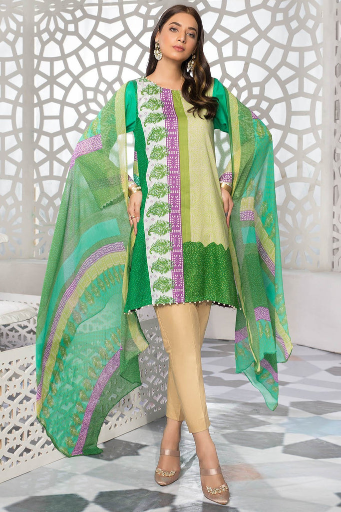 Warda Designer Collection - 3PC Lawn Print with Chiffon Dupatta 3819218