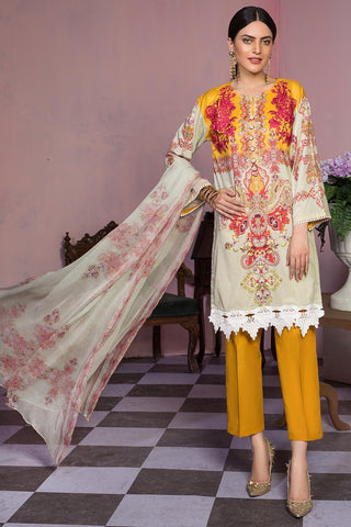 3PC Chiffon Lawn Embroidery 389406A - Unstitched - Warda Designer Collection