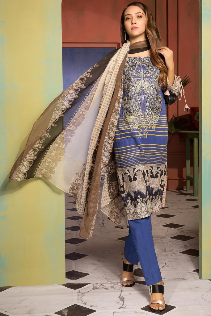 Unstitched - 3PC Lawn Embroidery with Chiffon Dupatta 389054A - Warda Designer Collection