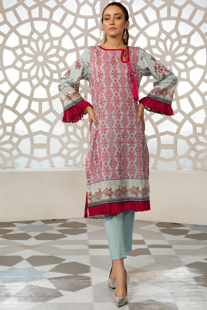 Single Shirt Lawn Chikan Kari with Print 1309328 - Unstitched - Warda Designer Collection
