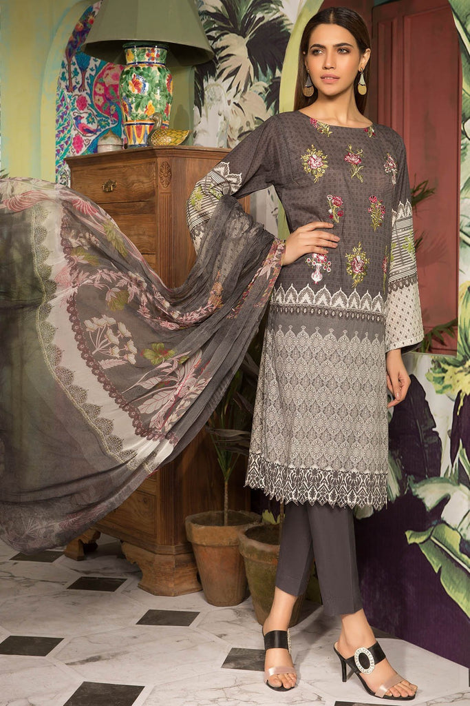 Unstitched - 3PC Lawn Embroidery 389059X - Warda Designer Collection
