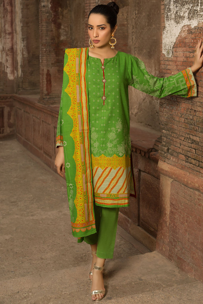 3PC Khaddar Print 3819795 - Unstitched - Warda Designer Collection
