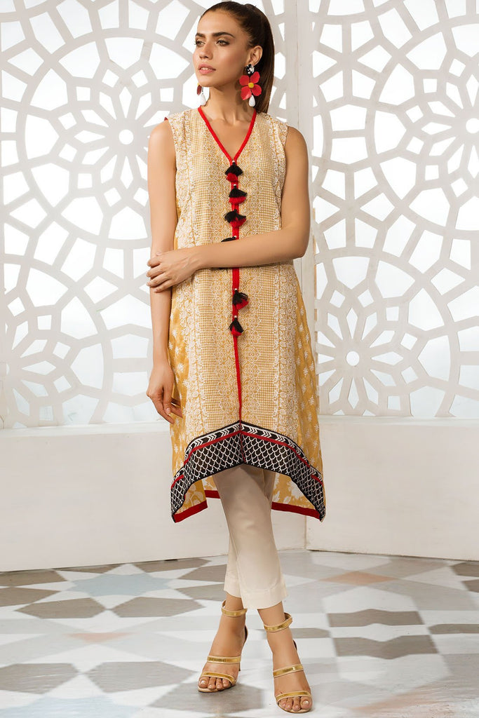 Single Shirt Lawn Chikan Kari with Print 1309329 - Unstitched - Warda Designer Collection