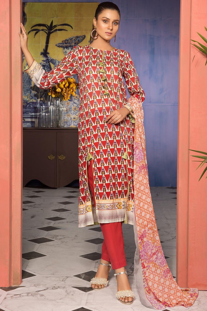 Warda Designer Collection - 3PC Lawn Print with Chiffon Dupatta 7.5 Meters 389224A