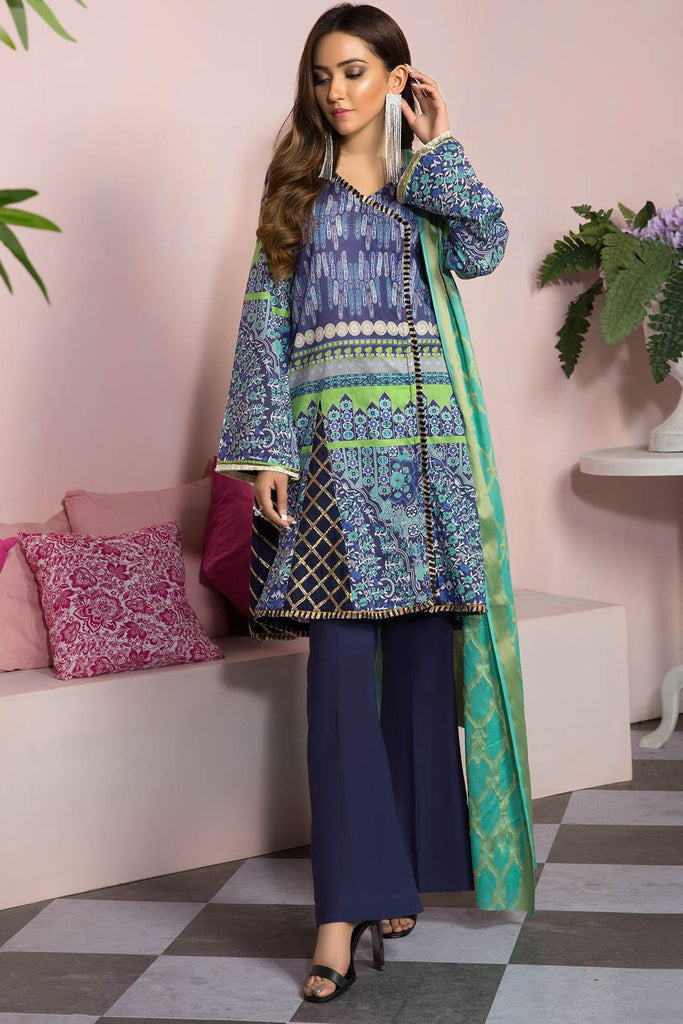 Warda Designer Collection - 2PC Lawn Shirt with Jacquard Dupatta 2559167