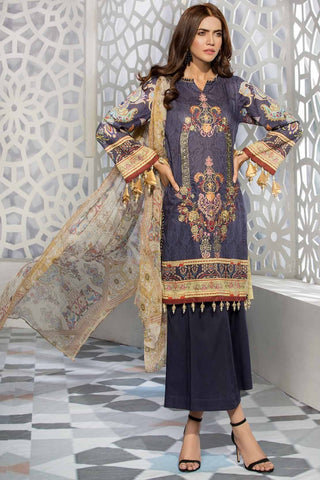 Warda Designer Collection - 3PC Lawn Embroidery with Bamber Dupatta 3819241
