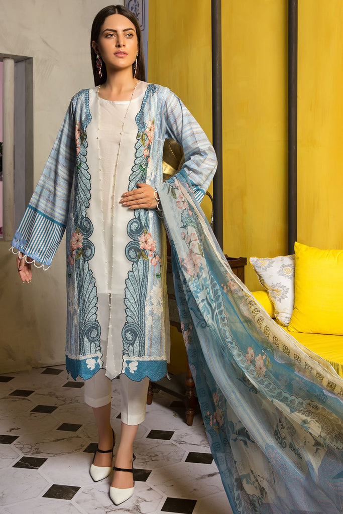 Warda Designer Collection - 3PC Digital Chikan Kari 3819422