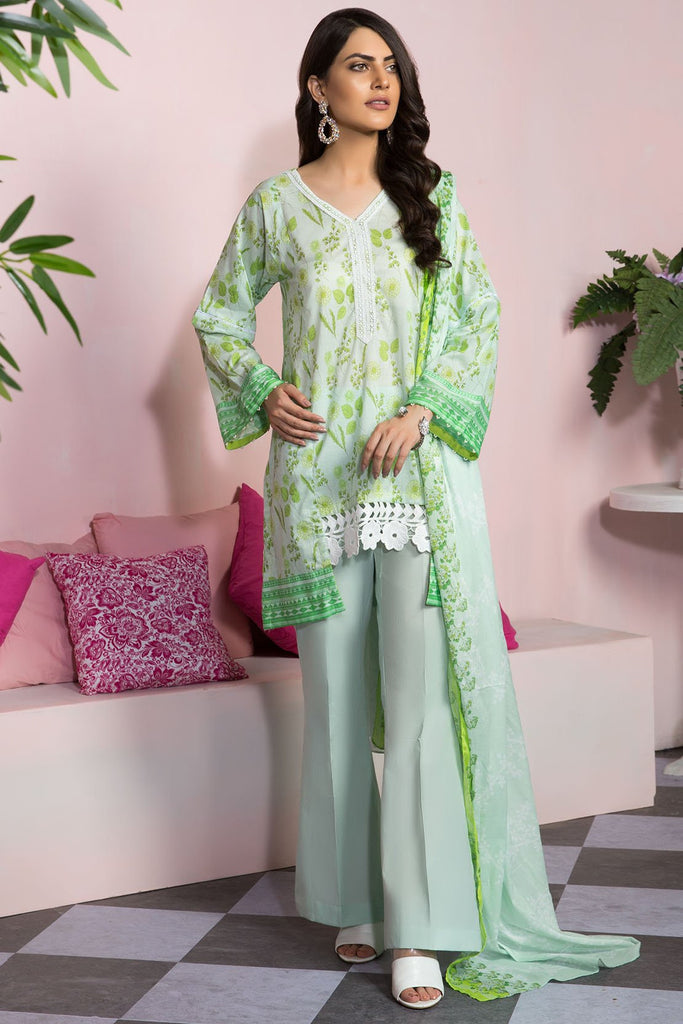 Warda Designer Collection - 3PC Lawn Print 7.5 Meters 3819390