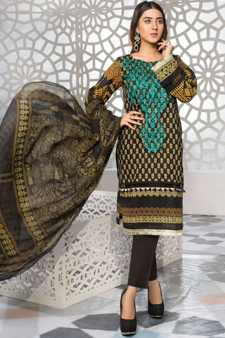 Warda Designer Collection - 2PC Lawn Embroidery with Chiffon Dupatta 2559199