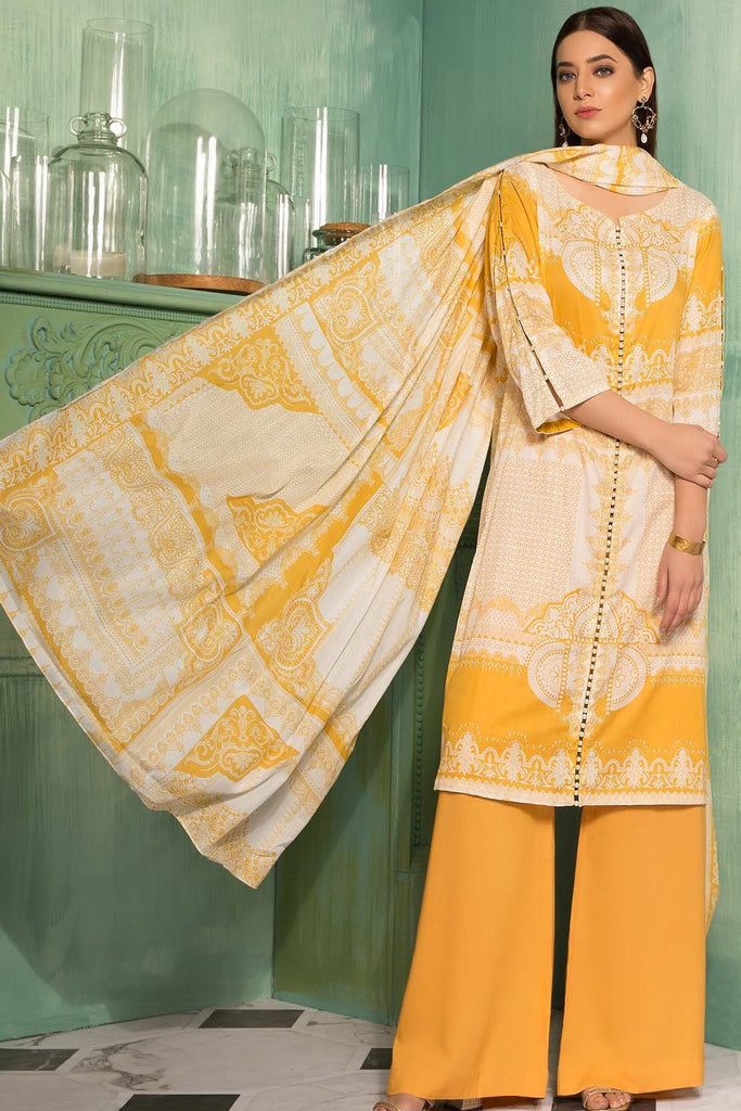 Warda Designer Collection - 3PC Lawn Print 7.5 Meters 3819036