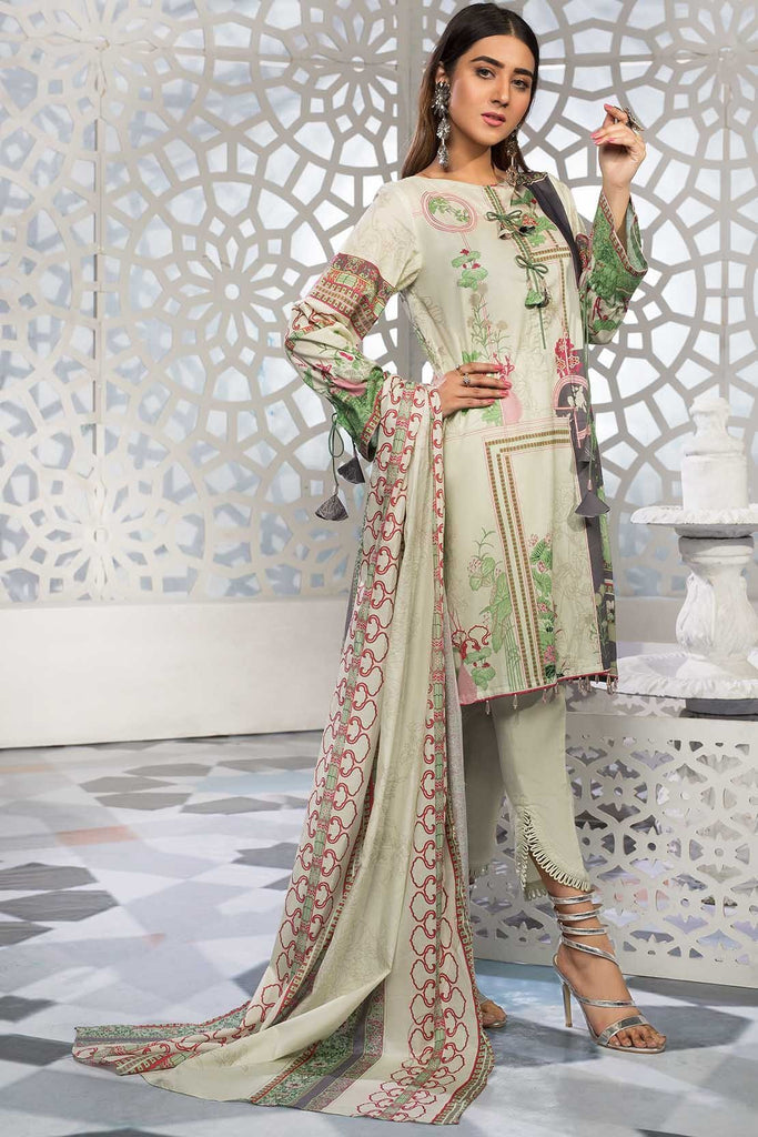 Warda Designer Collection - 3PC Lawn Print with Net Dupatta 389048A