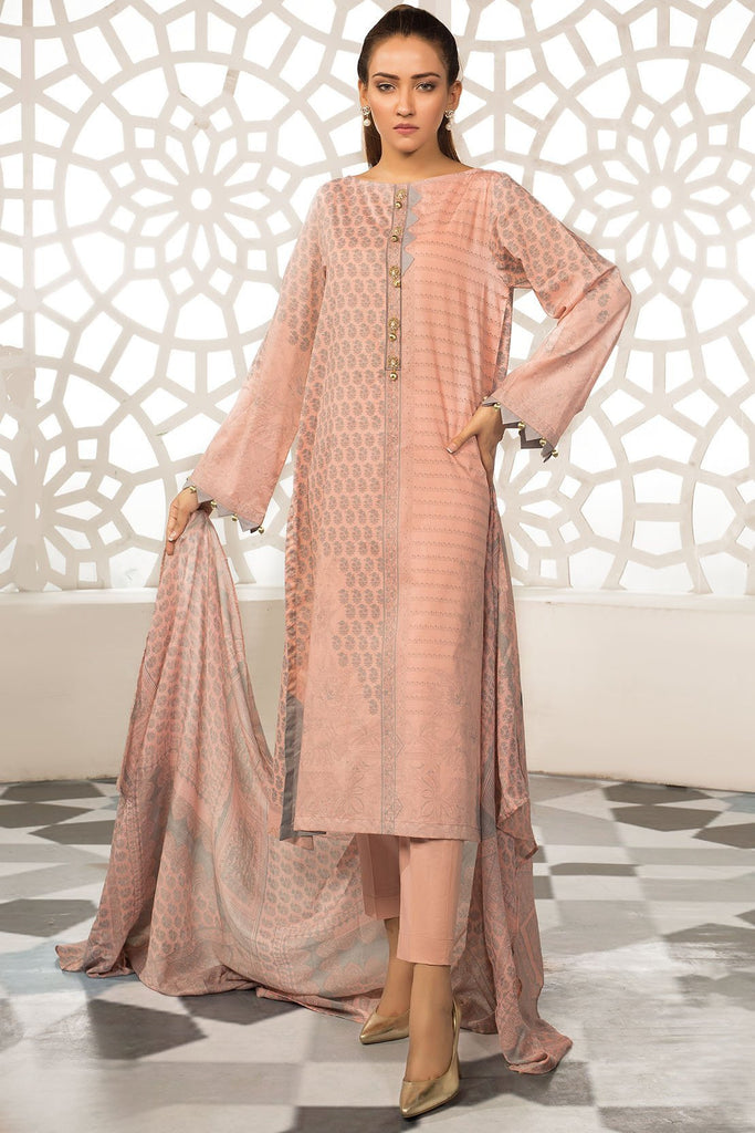 Warda Designer Collection - 3PC Lawn Print with Net Dupatta 3819226
