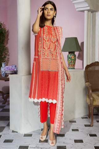 Warda Designer Collection - 3PC Lawn Embroidery 3819477