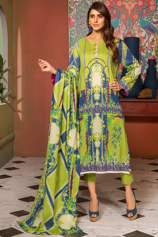 3PC Lawn Print with Net Dupatta 389050A
