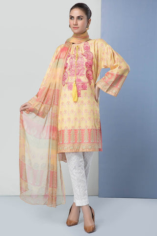 Warda Designer Collection - 2PC Embroidered Dobby Shirt with Printed Chiffon Dupatta 2559170