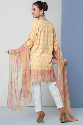 Unstitched - 2PC Embroidered Dobby Shirt with Printed Chiffon Dupatta 2559170 - Warda Designer Collection