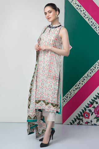 Unstitched - 2PC Lawn Print with Dupatta 2559183 - Warda Designer Collection