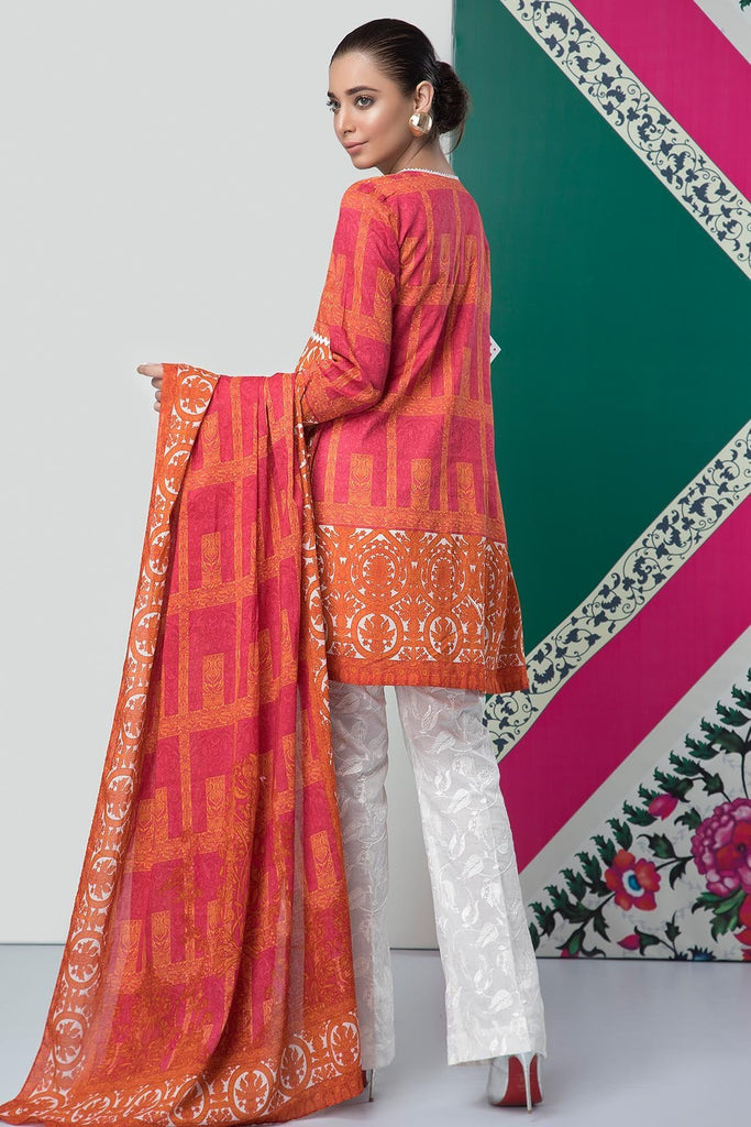 2PC Lawn Embroidery with Dupatta 2559194 - Unstitched - Warda Designer Collection