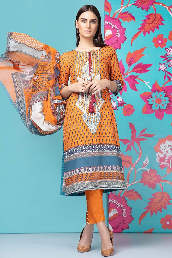 Unstitched - 2PC Lawn Embroidery with Chiffon Dupatta 2559198 - Warda Designer Collection