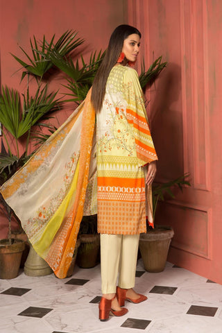 Unstitched - 2PC Lawn Print with Chiffon Dupatta 259013A - Warda Designer Collection
