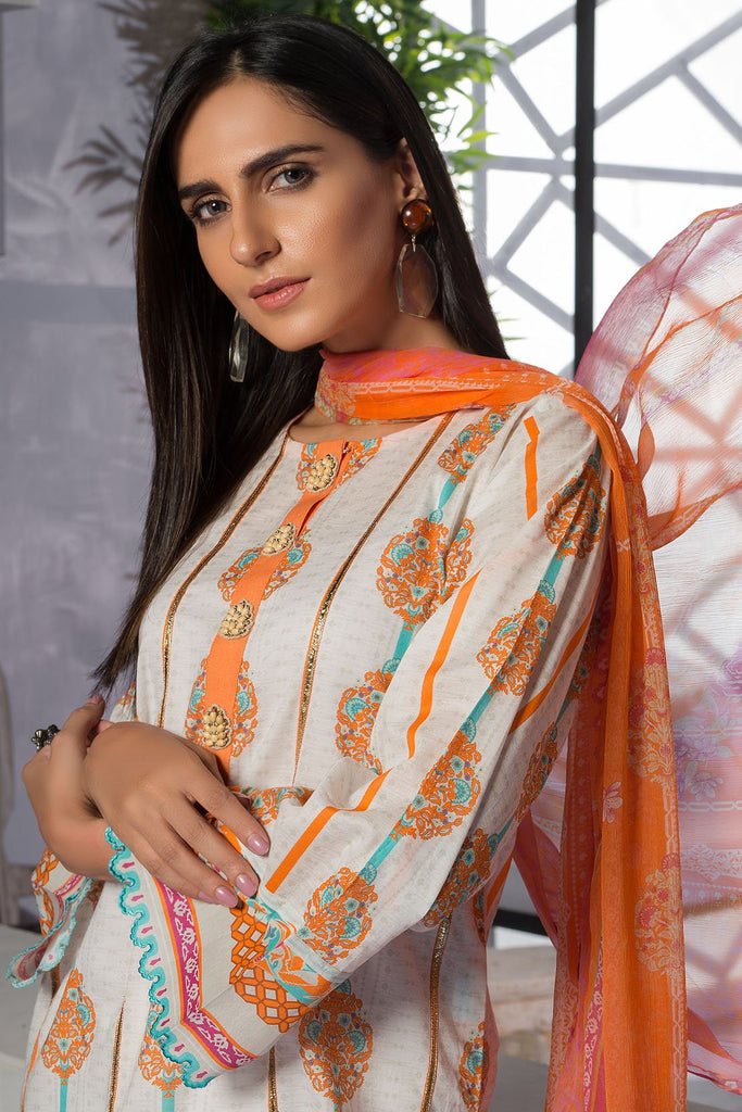 Warda Designer Collection - 3PC Lawn Print with Crinkle Chiffon Dupatta 3819396