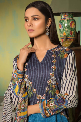 3PC Digital Chikan Kari 3819074 - Unstitched - Warda Designer Collection