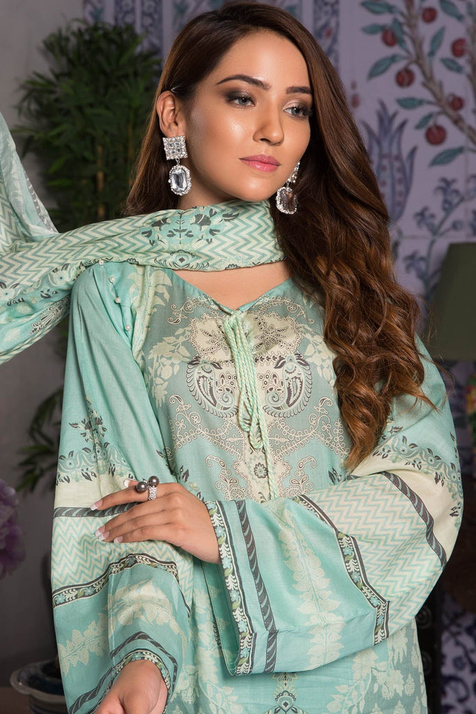 Warda Designer Collection - 3PC Lawn Print with Crinkle Chiffon Dupatta 389395A