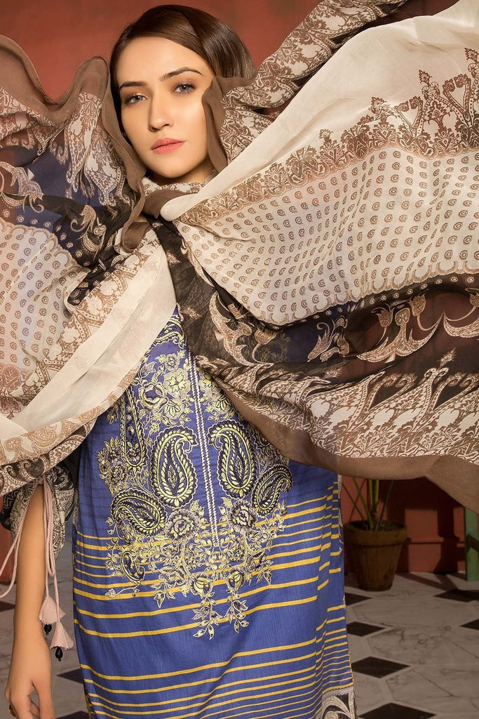 Warda Designer Collection - 3PC Lawn Embroidery with Chiffon Dupatta 389054A