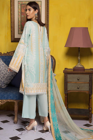 Warda Designer Collection - 3PC Lawn Printed Shirt with Embroiered Chiffon Dupatta (Printed Dupatta) 3819345